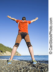 Trail running athlete man training