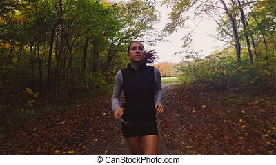 Trail Running in Forest