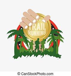 Trail Running Vector Illustration