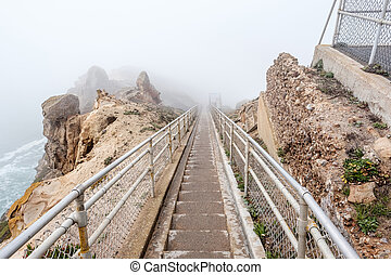 Trail through white fog to Point Reyes at Pacific coast -...