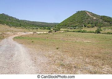 Trail to mountain with Sobreiro trees and vegetation