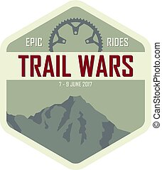 Trail Wars - Vintage style badge for a mountain biking race