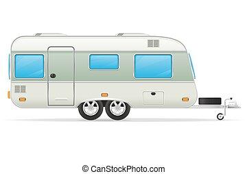 trailer caravan vector illustration - trailer caravan mobil ...