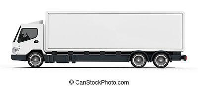 trailer., illustration, camion, vide, blanc, 3d