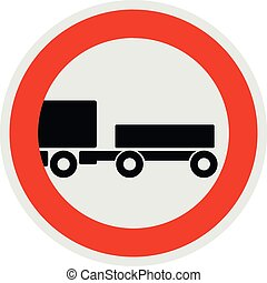 Trailer is forbidden icon, flat style. - Trailer is...