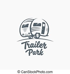 Trailer or Van Park Vector Logo Template. Silhouette Tourism...