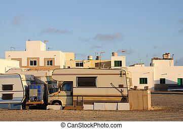 Trailer park on Canary Island Fuerteventura, Spain