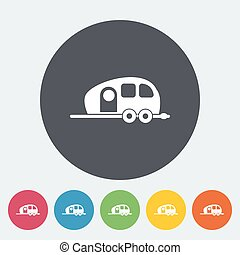 Trailer. Single flat icon on the circle. Vector...