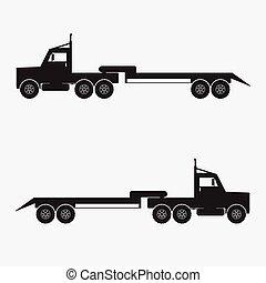 Trailer truck black color.Vector illustration.