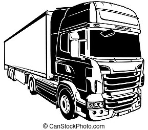Trailer Truck - Black Outlined Illustration, Vector