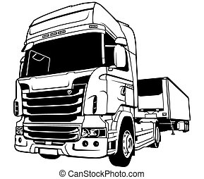 Trailer Truck - Black Outlined Illustration, Vector