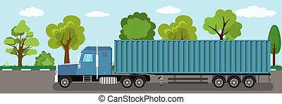 Trailer truck long vehicle with cargo container on road.