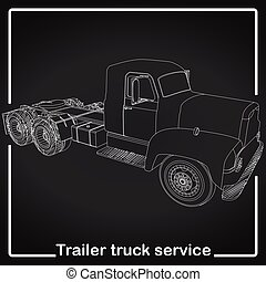 Trailer Truck stripe line art pattern on blackboard in...