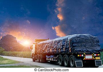 Trailer, trucks on an asphalt road in a rural for transportation concept..