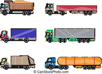 Trailer trucks side view icon set isolated on white. Commercial lorry truck with container, dump truck, garbage truck. Vector illustration