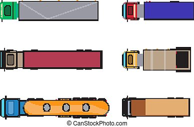 Trailer trucks top view icon set isolated on white. Commercial lorry truck with container, dump truck, garbage truck. Vector illustration