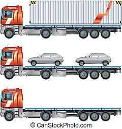 Trailer - Vector grey car on trailer, transports machines, ...