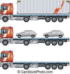 Vector grey car on trailer, transports machines, illustration