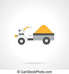 Trailer with crop flat color vector icon