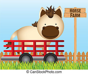 trailer with horse farm background, vector illustration