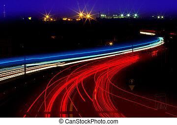 trails, ночь, красный, легкий, белый, дорога, автомобиль