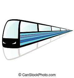 train, à, bleu, ligne, illustration