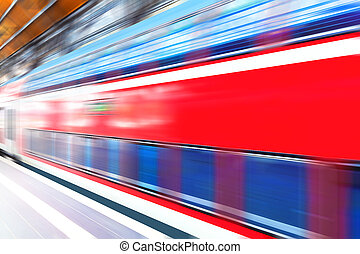 train, élevé, plate-forme, station, ferroviaire, vitesse