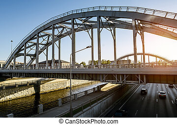 "Train ""American"" bridges over Obvodny canal in St. Petersburg. Russia"
