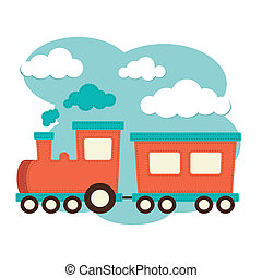 Train and Carriage - An illustration of a train with...