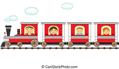 train and cheerful catroon family - cute red train and...