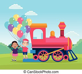 train and happy kids with colorful balloons in the field