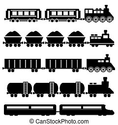 Train and railroads - Train with wagons, railroad and subway