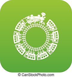 Train and round railway icon green vector
