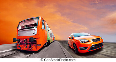 Train and sport car on speed