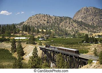 Historic steam locomotive and trestle