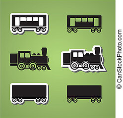 Train and wagon silhouets, black and white, vector...