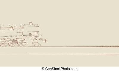 train, animation, vieux, vapeur, dessin animé