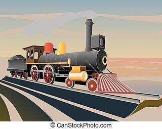 train., antigas, vapor, ilustração