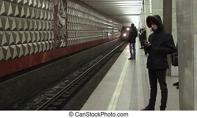 Train arrives at the Moscow metro station Molodezhnaya.
