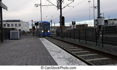 Train Arriving At Station. stockholm, Sweden