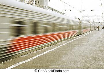 Train arriving on the platform
