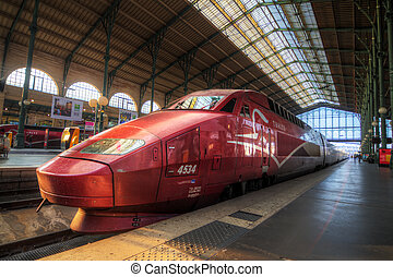Train at Gare du Nord - People travel with the high speed...