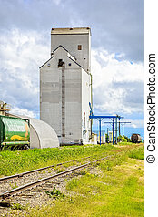Train at Grain Elevator