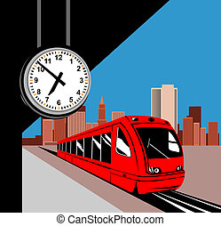 Train at the station - Illustration of a city train