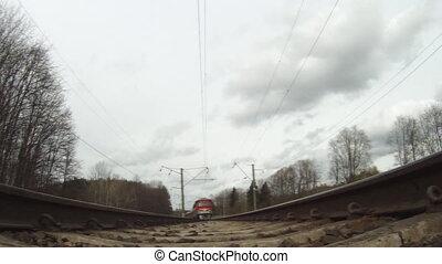 train, au-dessous, vue
