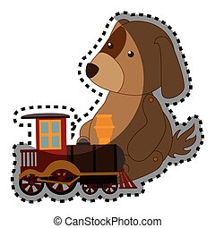 train, autocollant, chien jouet, coloré