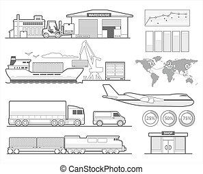 train, avion, voiture., entrepôt, camion, bateau