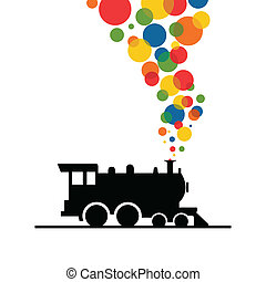 Train - Balls from a train pipe. A vector illustration