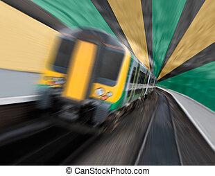 train banlieusard, expédier, dans, tunnel, à, radial, fait zoom ternissure