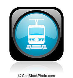 train black and blue square web glossy icon